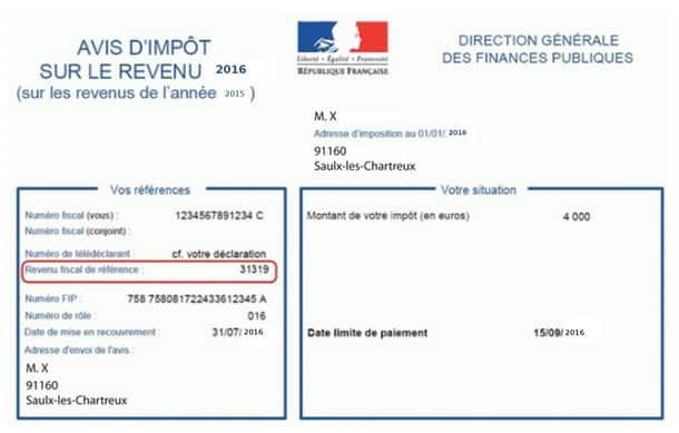 Le RFR se trouve sur votre feuille d'imposition