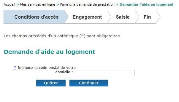 Demande d'APL en ligne :la page d'accueil