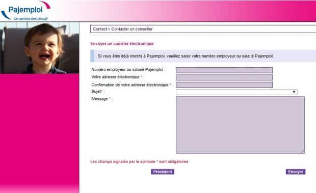Contacter Pajemploi via le formulaire en ligne
