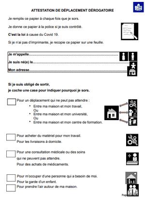 Imprimez l'attestation simplifiée coronavirus