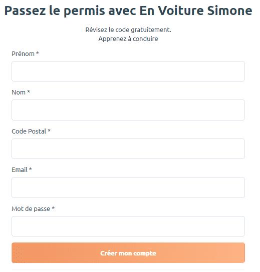 En Voiture Simone : créez votre compte
